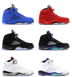 Wholesale metallic threads - with Box 2018 Mens and Womens Basketball Shoes Sneakers Red Blue Suede White Cement Grape Metallic for Men Sports Shoes Size US5.5-13