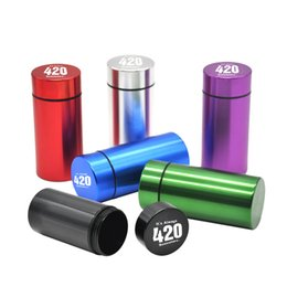 Wholesale Can Storage - Colorful Water airProof Can with logo Rubber Air Tight Silver RAW Aluminum Airtight Cylinder Stash Case Tobacco Herb Storage Bottles Box