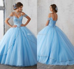 Wholesale Cascade Jackets - 2018 Light Sky Blue Ball Gown Quinceanera Dresses Cap Sleeves Spaghetti Beading Crystal Princess Prom Party Dresses For Sweet 16 Girls