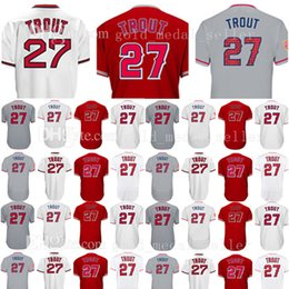 Wholesale Red Base - Embroidery Men's 27 Mike Trout Baseball Jerseys Mike Trout Flex Cool Base Jersey Embroidery and 100% Stitched SIZE M-XXXL