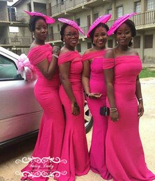 Wholesale Hot Black Woman Maid - Stylish 2018 Mermaid Hot Pink Satin Bridesmaid Dresses Long Off The Shoulder Maid Of Honor Dress Party For Women Vestido Madrinha