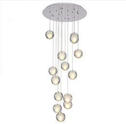 2019 cristal bolhas pingente de luz Modern LED Candelabro de Cristal Grande Bolha de Cristal Lâmpadas 14 Luzes Pendurar Lustres De Cristal Escada Pingente Dispositivo Elétrico de Iluminação cristal bolhas pingente de luz barato