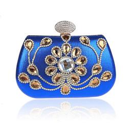 Wholesale Bling Diamond Purses - Luxury Royal Blue GEM Crystal Women Handbags Day Clutches Bling Diamond Party Banquet Wedding Evening Bags Elegant Chain Purses