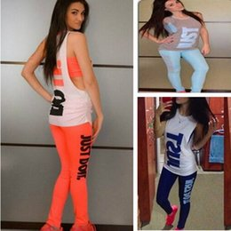 Wholesale woman casual wear set - 3PCS SET Women Tracksuit JUST DO IT Letter Print Designer Outfits Short Tee Vest Blouse with Pants Tights Sports Suits Casual Sports wear