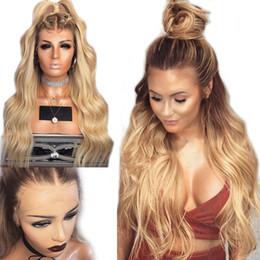 Parrucca ondata nera online-Top Quality Body Wave 26 pollici parrucca bionda Glueless parrucca anteriore in pizzo sintetico con capelli del bambino resistenti al calore parrucche ombre per le donne nere