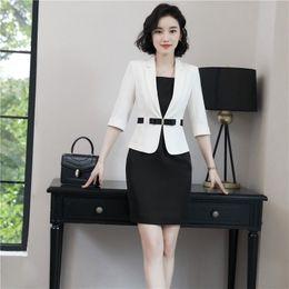 2f3f367f2b81 Business women half sleeve blazer +sleeveless dress fashion elegant Summer  Blazer Dress Suit office Interview plus size Work wear set