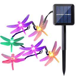 Luz solar do jardim libélula solar on-line-20/30/50 Luzes Da Corda Da Bateria Solar Dargonfly LEDs 8 Modos de Fadas Luzes Da Corda Da Libélula Jardim Ao Ar Livre Iluminação Dropship Por Atacado