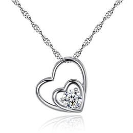 Colgante corazon estilo corazon de amor online-Estilo coreano del corazón de plata collar de las mujeres diapositivas corazón colgante collar moda medallón cadena de clavícula amor collar broche de joyería