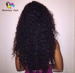 Perucas dianteiro do laço pequeno on-line-Kinky curly Humano Perucas de Cabelo pequeno onda completa termina 7A Brasileiro Glueless frente Lace Wigs Cabelo Humano Lace Front Perucas para As Mulheres Negras