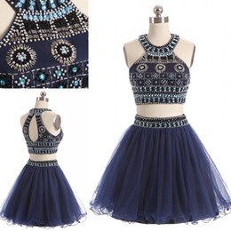 silver rhinestone prom dress halter Coupons - Navy 2 Pieces Short Cocktail Prom dresses halter Keyhole Back Bling Crystal Beaded Ruched Tulle A line Rhinestones Homecoming Party Dress