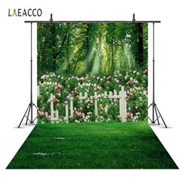 Wholesale flowering trees photos - Laeacco Spring Tree Flower Garden Fence Floor Scenic Baby Photography Backgrounds Custom Photographic Backdrops For Photo Studio