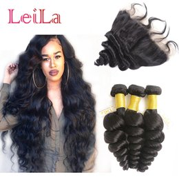 Wholesale Cheap Virgin Brazilian Hair Closures - Cheap Brazilian Human Virgin Hair Loose Wave 3 Bundles with Lace Frontal 13 X 4 Closure 4 Pieces lot Hair Wefts Weave