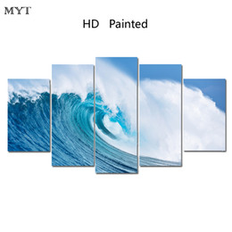 Wholesale Abstract Waves Painted Walls - Dropshipping Oil Painting Wall Art Canvas Prints Beach Sea Waves Landscape Modern Wall Pictures For Living Room Home Decoration