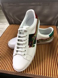 Wholesale pink cock - Hot Fashion Designer Brand Casual Shoes green blue red stripe bee snake tiger cock dragon sneaker for men women size 34-46