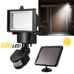 luz de inundación de movimiento con energía solar Rebajas Panel de energía solar 100 SMD Luz de inundación LED Sensor de movimiento Jardín exterior Patio de calle Paisaje Seucrity Lámpara Reflector