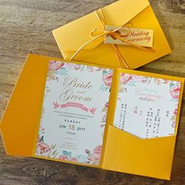 Nouveau 3 Plis Jaune Invitations De Mariage Cartes Pour Mariage Nuptiale Douche Fiançailles D'anniversaire De Graduation Inviter ? partir de fabricateur