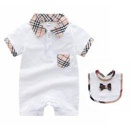 ed4862c1a63 Summer Baby Boys Girls Rompers and Bibs Set Shortsleeved Cartoon Plaid Infant  Jumpsuit Newborn Playsuit Sleepsuit Costume 3-24M C14