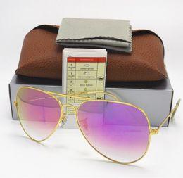 Wholesale Hot Pink Designer Eye Frames - 1PCS Quality Hot Sale Mens Womens Pilot Gradient UV400 Sunglasses Designer Sun Glasses Gold Blue Pink Purple 62mm Glass Lenses Alloy Frame