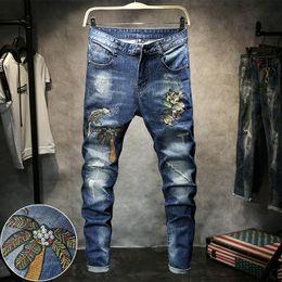 sezioni di fiori Sconti 2018 nuovi jeans da uomo ricamo fiore hip-hop stretch Slim sezione sottile pantaloni coreani