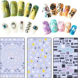 1sheet мода Pattern глаза перо ногтей слайдер искусства наклейки 3D смешанный цвет ногтей для 3D DIY украшения наклейка советы F166 от