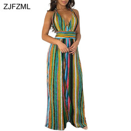 570bd3f8492 ZJFZML Colorful Vertical Stripe Sexy Party Jumpsuit Women V Neck Sleeveless Wide  Leg Romper Summer Halter Open Back Long Overall