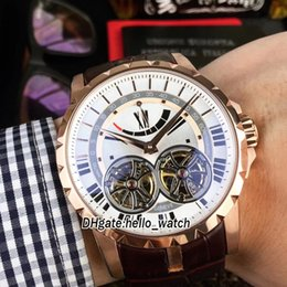 Wholesale rose gold white leather watch - Brand New Excalibur 46 Double Tourbillon Power Reser White Dial Automatic RDDBEX0249 Mens Watch Rose Gold Case Leather Strap Sport Watches