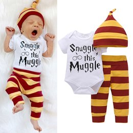 Wholesale Cheap Winter Outfits - Cheap Baby Boy Girl sets Kids Newborn Infant new guy rompers funny letter printed Romper+pants+Hat bodysuit Outfits top Clothing Set 3pcs