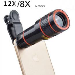 Cámara de tiempos online-8X 12x teléfono móvil con enfoque largo telescopio cámara lente óptica con clip 8 veces 12 veces telecope camaeras para iphone samsung teléfono inteligente