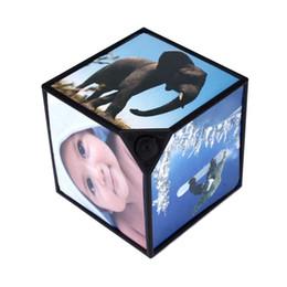 черно-белые фоторамки Скидка Хорошая Продажа 360 Rerating Фоторамки Revoling Multi Picture Cube Черный Home Decor Семья 25 Ноября