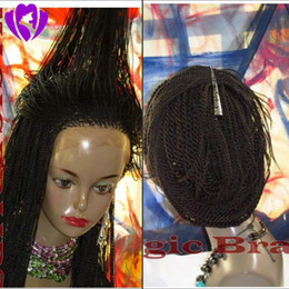 Wholesale Lace Front Wigs Dark Red - 150density full Senegalses 2x Twist Braids Lace Front Synthetic Wigs For Black Women Crochet Braiding Cosplay Hairstyle for black women