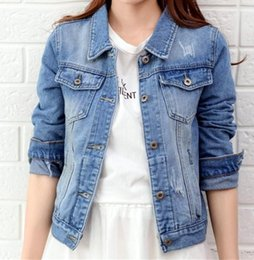 Wholesale Casual Jeans Tops Women - Women Jeans Jacket Coat Casual Denim Jackets Basic Coats Windbreaker Lapel Pocket Vintage Winter Outwear Tops Jaqueta