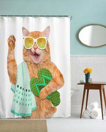 Denti 3d online-Cartone animato moderno QIYI Denti spazzolatura Fat Cat resistente all'acqua poliestere doccia tenda 3D stampa ad alta definizione impermeabile