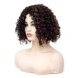 lockige perücken für afroamerikanerinnen Rabatt Günstige Afro Verworrene Kurze Lockige Gold Brown Perücken für Frauen Afroamerikaner Synthetische Perücken Teilweise Pony Ombre Haar