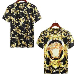 Wholesale Golden Printed Top Tee - Medusa t shirts Silk Slim European Baroque Style Mens Golden Floral Printed T-shirts Tee Tops 2018 New Designer Casual tshirt Homme Bloues