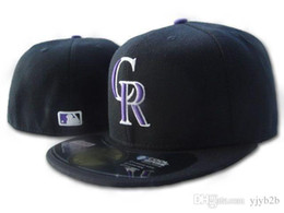 Wholesale field piece - One Piece Rockies Fitted Baseball Hats on field Flat Brim Sports Team Logo Embroidered Flat Full Closed Caps Cheap Bones Gorras mens womens