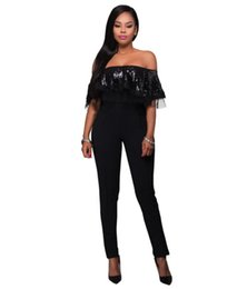 Wholesale Women S Lace Tube Tops - Hot Sexy Falbala Tube Top Sequin Jumpsuit Women Clothing Lace Bodysuits Tights Bodycon Rompers Female Fashion Sexy Black Jumpsuit