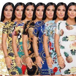 Wholesale ladies gray pencil skirts - 2018 new Women casual dress Fashion retro iron chain print bodycon tshirt dress ladies club party bandage Package hip skirt