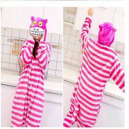 Anime disfraces de animales online-Unisex Adulto Cosplay Pijamas Cheshire Cat Anime ropa de dormir Animal Onesie Pijamas Pijamas Cosplay disfraces ropa de dormir KKA4169
