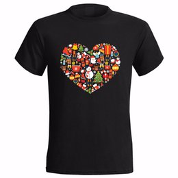 heart shirt designs Coupons - XMAS ICONS HEART DESIGN MENS T- SHIRT PRESENT SANTA CHRISTMAS GIFT SECRET LOVE 100% Cotton Brand New T Shirts
