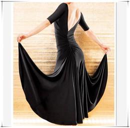 una manga de spandex vestidos negros Rebajas 10 colores Envío gratis Negro / Púrpura / Rosa salón de baile vals tango flamenco vestidos Baile moderno faldas media manga vestido de una sola pieza