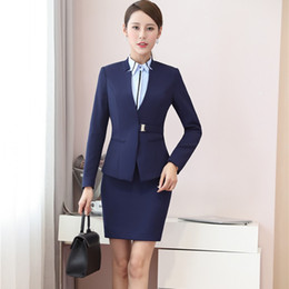 Wholesale Plus Size Office Jackets - Spring Fall Formal Uniform Designs Professional Women Business Suits With 2 Piece Jackets And Skirt Office Sets Plus Size