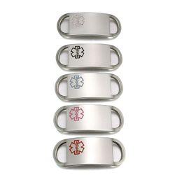 10 unids / lote alta pulido tono plata placa de identificación de alerta de acero inoxidable de la placa de etiqueta de la placa para personalizar pulsera desde fabricantes