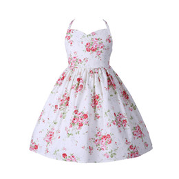 Wholesale Lace Halter Style Dress - 2018 new Girls Summer Floral Dress Ruffles Halter with Backless Sweet Party Dress Cotton Children Pink and Blue Dress Can mix size A8215