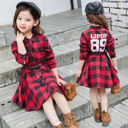 pulseiras de algodão preto Desconto Novas meninas outono vestido de t-shirt vestidos de manga longa de algodão das crianças vestido grande roupa dos miúdos menina vestido com pulseira Preto Vermelho A9959
