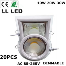 Wholesale Hotel Panel - 20pcs Dimmable 10W 20W 30W LED Panel Downlight Round Glass Panel Lights Ceiling Recessed Lamps For Home Hotel Lighting AC85-265V