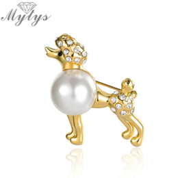 Wholesale poodle jewelry - Mytys Fashion Lady Pet Poodle Dog Brooches Pin For Costume Clip Jewelry Accessory Pearl Brooch Animal Design X289