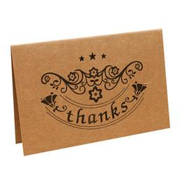 Papeles de acción de gracias online-Brown Kraft Paper Thank You Cards Tarjeta de felicitación Sobres para boda Graduation Baby Shower Thanksgiving Day
