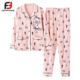 Pyjamas Ensembles Femmes Bande Dessinée En Coton Doux Homewear Rose Cardigan Bouton Accueil Costume Haut + Pantalon Taille Élastique Bordée Pyjamas M-3XL ? partir de fabricateur
