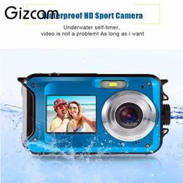 Wholesale Video Compact - Gizcam 24MP Dual LCD Screen Compact Digital Camera Waterproof 16x Zoom Video Camcorder Mini Cameras CMOS Micro Camera EU plug