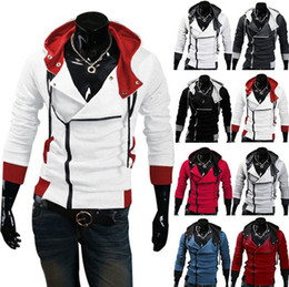green jacket costumes Coupons - Stylish Assassins Creed Hoodie Men's Cosplay Assassin's Creed Hoodies Cool Slim Jacket Costume Coat